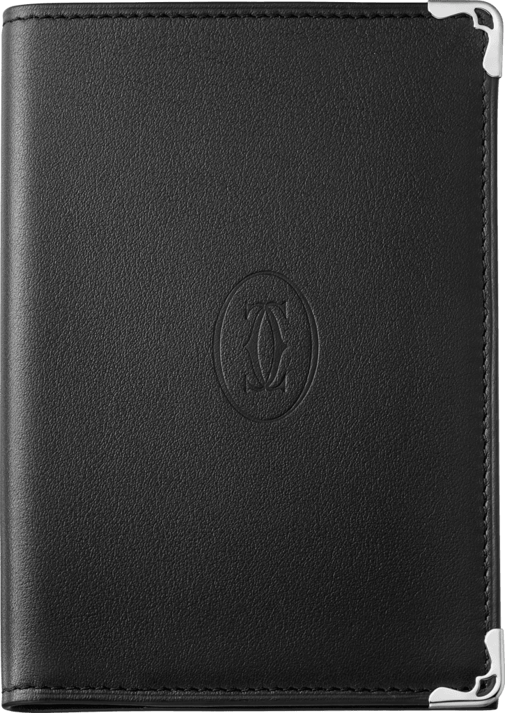 Must de Cartier Small Leather Goods, passport holderBlack calfskin, stainless steel finish