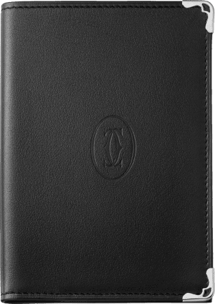 Passport Holder, Must de Cartier Black calfskin, stainless steel finish