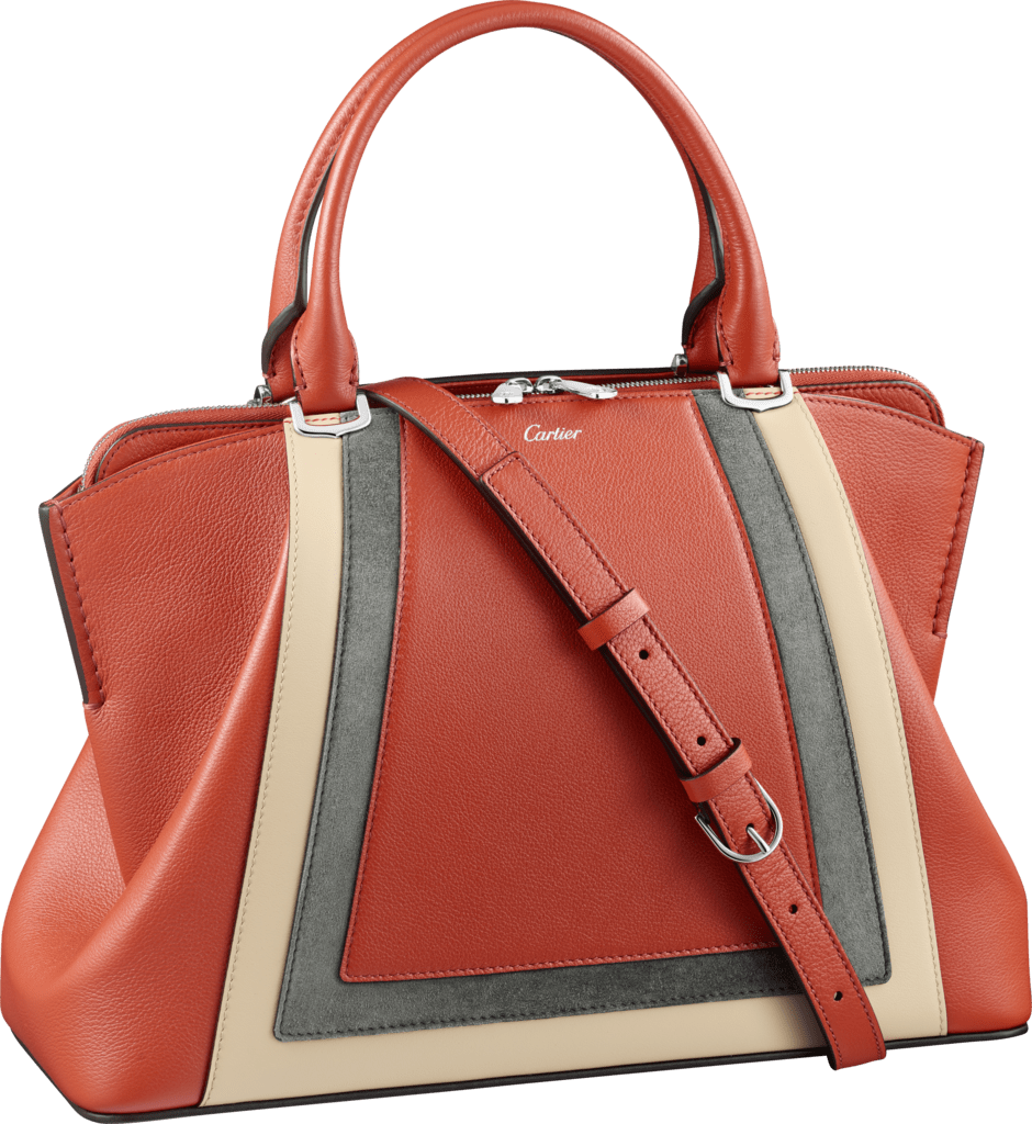 C de Cartier bag, small modelRed carnelian taurillon leather with contrasting bands, palladium finish