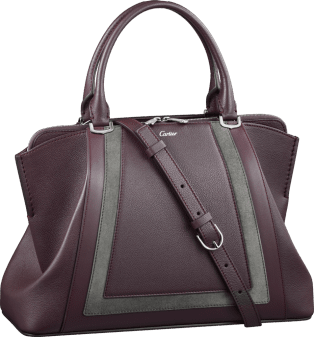C de Cartier bag, small model Rhodolite garnet taurillon leather with contrasting bands, palladium finish