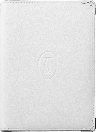 Must de Cartier Small Leather Goods, passport holder White calfskin, stainless steel finish