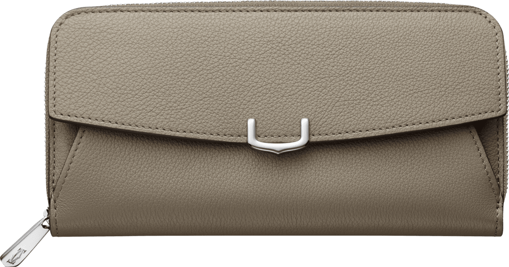 C de Cartier Small Leather Goods, zipped international walletHematite taurillon leather, palladium finish