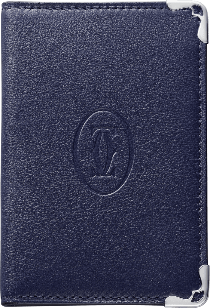 Must de Cartier Small Leather Goods, 4-credit card holderBlue calfskin, stainless steel finish
