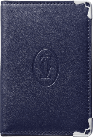 Must de Cartier Small Leather Goods, 4-credit card wallet Blue calfskin, stainless steel finish