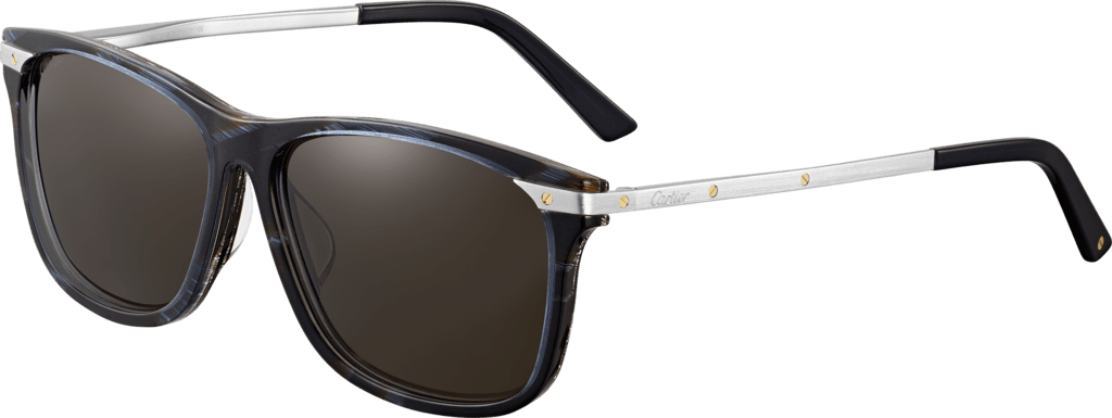 Santos de Cartier sunglassesCombined two-tone blue and horn-effect composite and platinum-finish metal, blue lenses