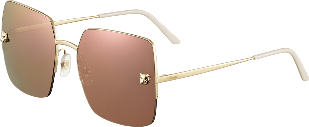 Panthère de Cartier sunglassesChampagne golden-finish metal, lenses with a golden pink-toned effect