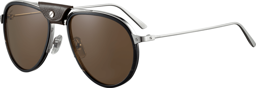 Santos de Cartier sunglassesLenses encircled with black horn and carbon, platinum-finish metal, brown polarized lenses