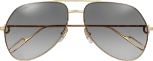 Première de Cartier sunglasses Champagne golden-finish and platinum-finish metal, graded gray lenses with a slight golden flash