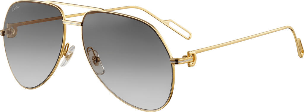 Première de Cartier sunglassesChampagne golden-finish and platinum-finish metal, graded gray lenses with a slight golden flash
