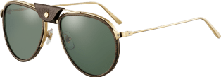 Santos de Cartier sunglasses Lenses encircled with wood and carbon, champagne golden-finish metal, green polarized lenses