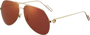 Première de Cartier sunglasses Champagne golden-finish metal, burgundy lenses with golden flash