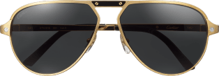 Santos de Cartier sunglasses Black lacquer temples and bridge, champagne golden-finish metal, gray polarized lenses