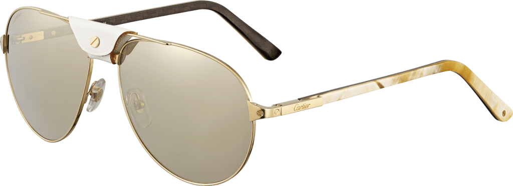 Santos de Cartier sunglassesWhite horn and carbon temples, champagne golden-finish metal, lenses with a golden flash