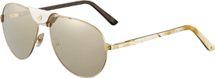Santos de Cartier sunglasses White horn and carbon temples, champagne golden-finish metal, lenses with a golden flash