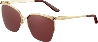 Panthère de Cartier sunglasses Champagne golden-finish metal, burgundy lenses