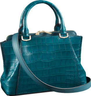 C de Cartier bag, mini model Blue-green tourmaline alligator skin, gold finish