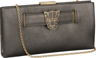 Panthère de Cartier clutch bag Anthracite grey lambskin, gold finish
