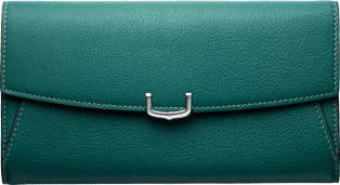 Small Leather Goods C de Cartier, international wallet Blue-green tourmaline taurillon leather, palladium finish
