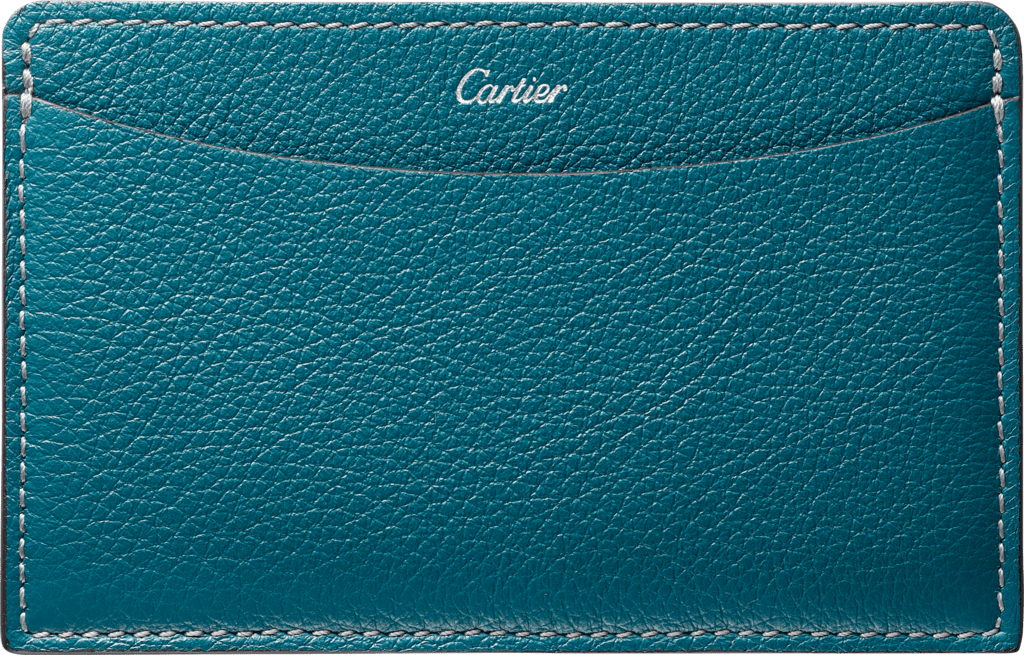 C de Cartier Small Leather Goods, card holderBlue-green tourmaline taurillon leather, palladium finish
