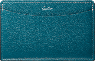 C de Cartier Small Leather Goods, card holder Blue-green tourmaline taurillon leather, palladium finish