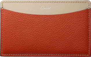 C de Cartier Small Leather Goods, card holder Red carnelian taurillon leather, palladium-finish