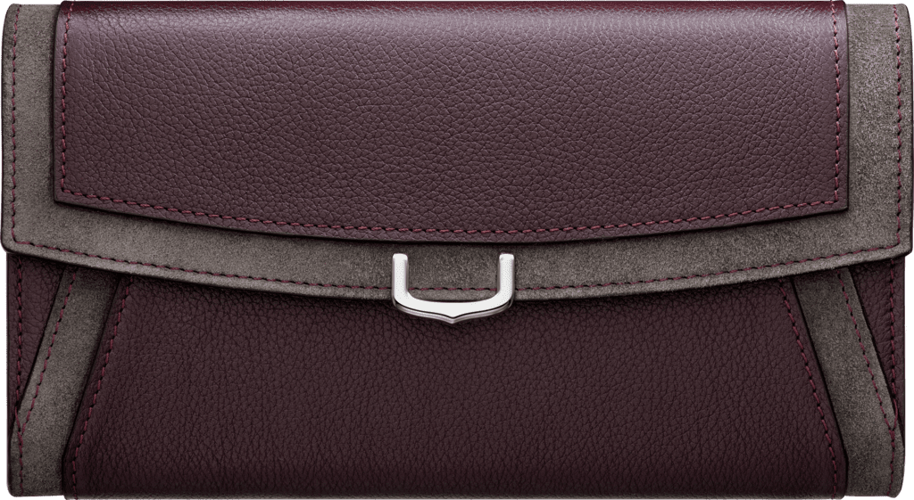 Small Leather Goods C de Cartier, international walletRhodolite garnet taurillon leather with contrasting bands, palladium finish