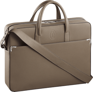 Must de Cartier bag, document holder Taupe-colored grained calfskin, palladium finish