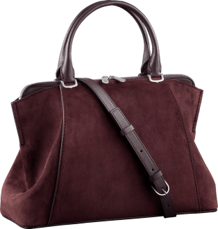 C de Cartier bag, small model Rhodolite garnet calfskin suede, palladium finish
