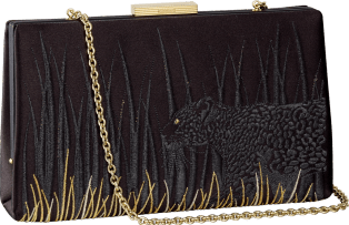Panthère de Cartier clutch bag Black satin with Panthère embroidery, gold finish
