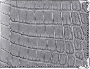 Must de Cartier Small Leather Goods, 6-credit card wallet Gray alligator skin, stainless steel finish