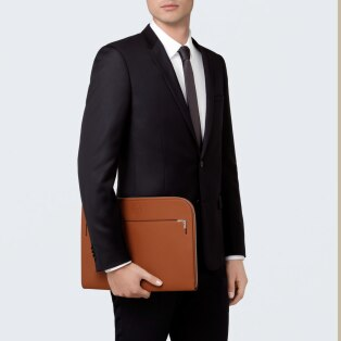 Must de Cartier bag, portfolio Caramel grained calfskin, palladium finish