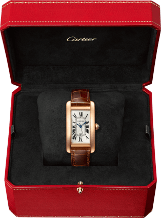 Tank Américaine watch Medium model, automatic movement, pink gold, leather