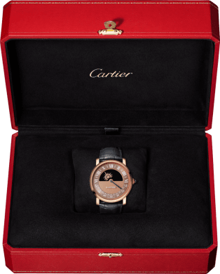 Rotonde de Cartier mysterious movement watch 40 mm, manual, 18K pink gold, leather