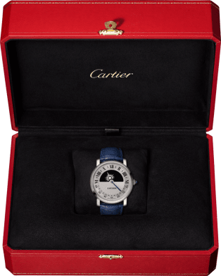 Rotonde de Cartier mysterious movement watch 40 mm, manual, 18K white gold, leather