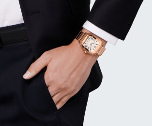 Santos de Cartier watch Medium model, automatic movement, pink gold, interchangeable metal and leather bracelets