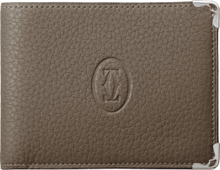 Must de Cartier Small Leather Goods, 6-credit card wallet Taupe-colored grained calfskin, stainless steel finish