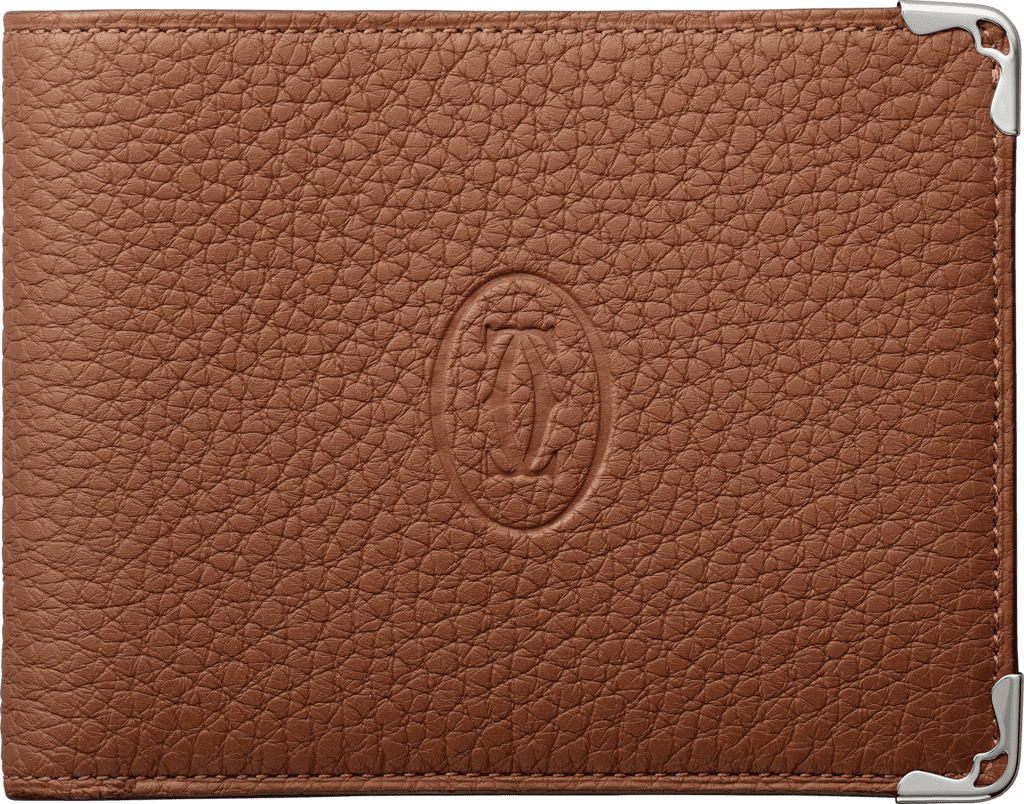 Must de Cartier Small Leather Goods, 6-credit card walletCaramel grained calfskin, stainless steel finish