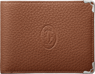 Must de Cartier Small Leather Goods, 6-credit card wallet Caramel grained calfskin, stainless steel finish