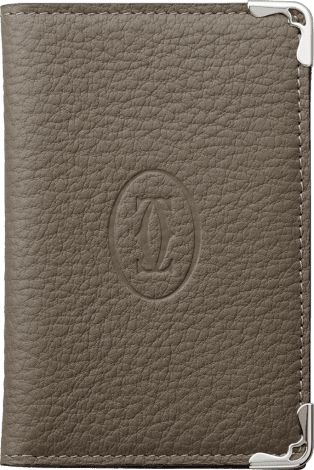 Must de Cartier Small Leather Goods, 4-credit card wallet Taupe-colored grained calfskin, stainless steel finish