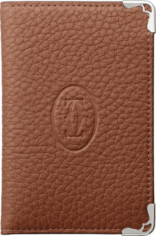 Must de Cartier Small Leather Goods, 4-credit card wallet Caramel grained calfskin, stainless steel finish
