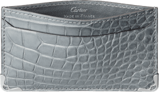 Must de Cartier Small Leather Goods, card holder Gray alligator skin, stainless steel finish