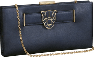 Panthère de Cartier clutch bag Metallic blue lambskin, gold finish