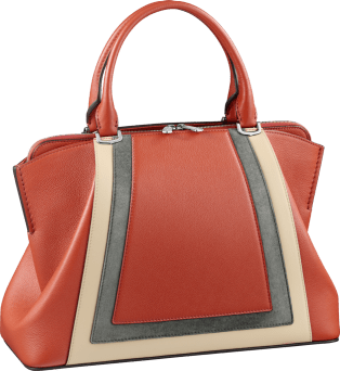 C de Cartier bag, small model Red carnelian taurillon leather with contrasting bands, palladium finish