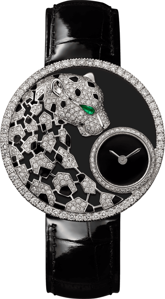 Panthère Jewelry Watches36mm, quartz movement, white gold, diamonds, emerald, lacquer, leather