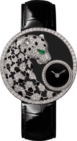 Panthère Jewelry Watches 36mm, quartz movement, white gold, diamonds, emerald, lacquer, leather