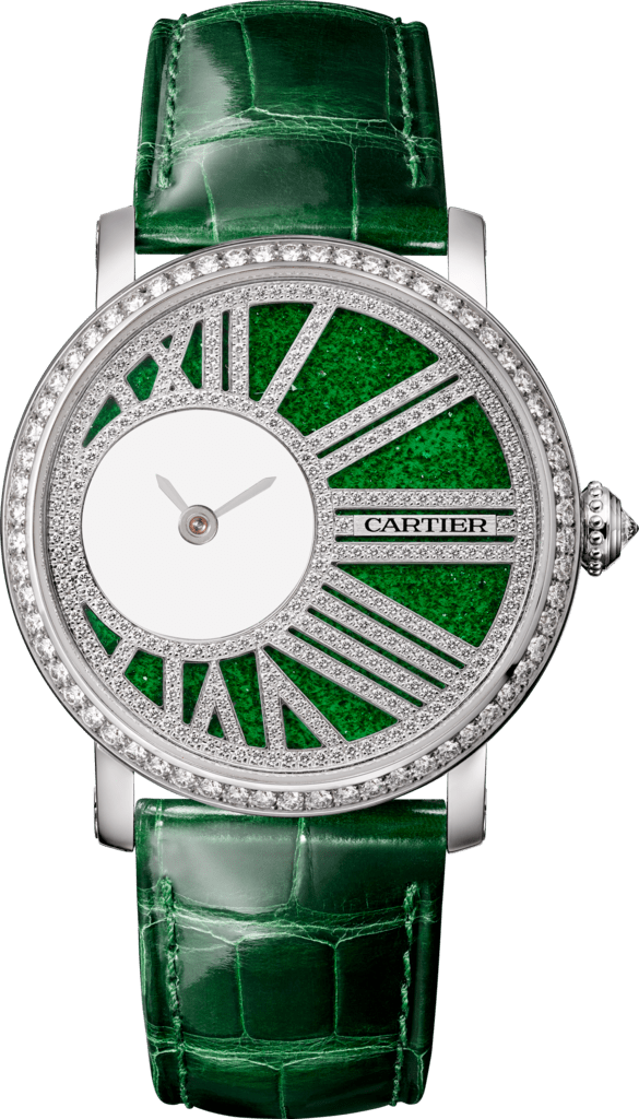 Rotonde de Cartier mysterious movement watch35 mm, manual, white gold, diamonds, aventurine glass, leather