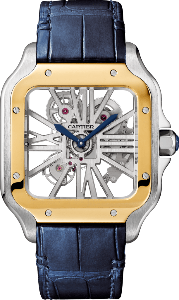 Santos de Cartier watchLarge model, hand-wound mechanical movement, yellow gold, steel, leather