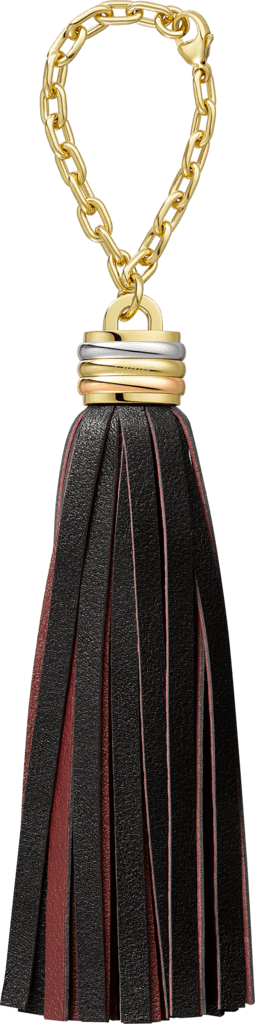 Trinity tassel  key ring in green and blackBlack and burgundy calfskin, golden-finish, palladium-finish and pink golden-finish metal, chain.