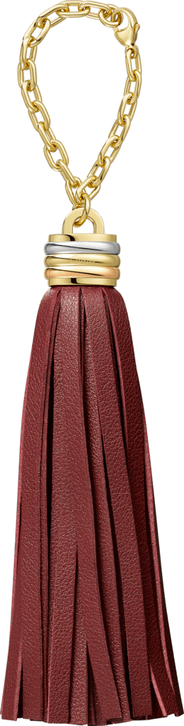 Trinity tassel key ring in burgundy Burgundy calfskin, golden-finish, palladium-finish and pink golden-finish metal, chain.