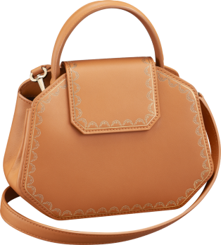 Guirlande de Cartier bag, mini model Camel-colored calfskin, golden finish